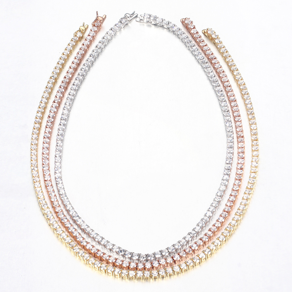 206Pcs Round CZ Cubic Zirconia 925 Sterling Silver Tennis Necklace Jewelry for Women 71382
