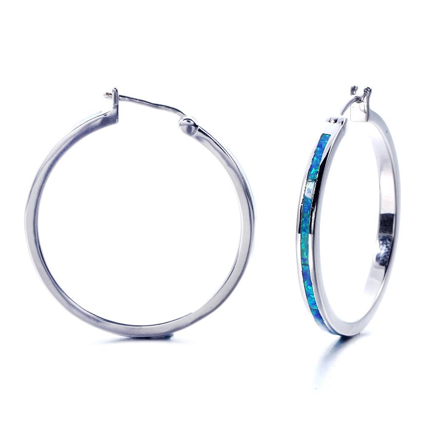 Created Blue Opal Earrings 925 Sterling Silver Drop Earrings jewelry gift for Women 37759