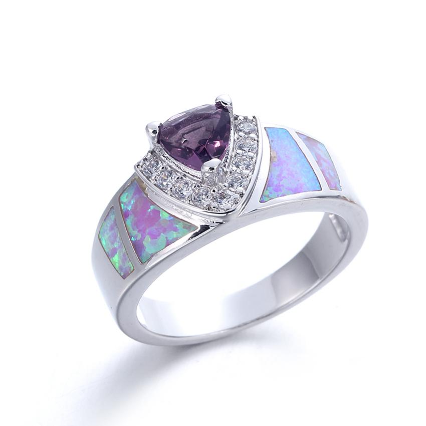 Women Fashion Opal 925 Sterling Silver Gemstone Jewelry Ring Size 5 6 7 8 9 10 11 103541