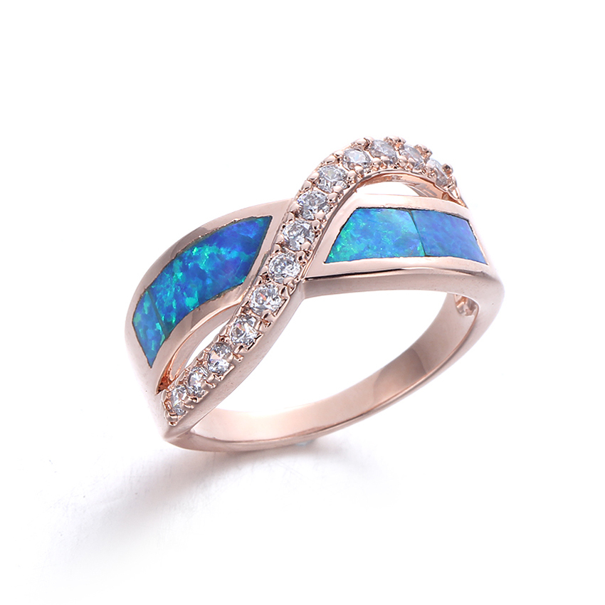 Women Fashion Blue Opal 925 Sterling Silver Ring Jewelry For Wedding Party Anniversary 103546