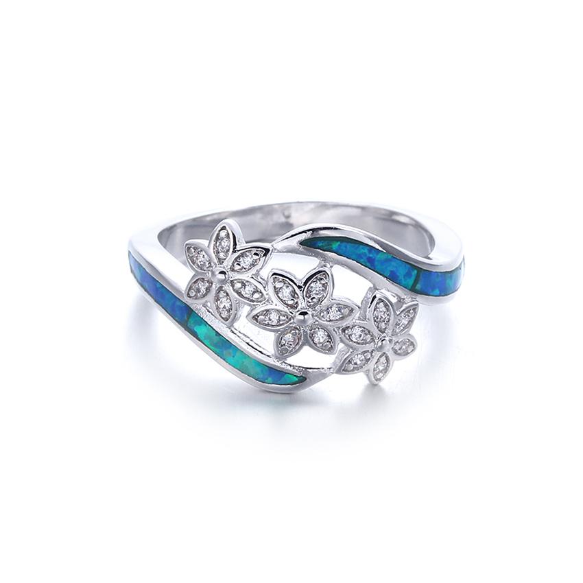 European Women 925 Sterling Silver Blue Opal Wedding Rings Jewelry 103549