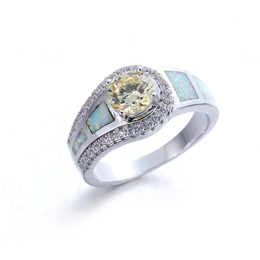 Fashion Women White Opal 925 Sterling Silver Round Cut Cubic Zirconia Ring Jewelry 103553