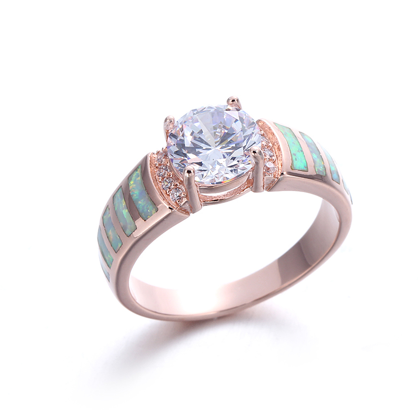 White Opal 925 Sterling Silver Wedding Engagement Ring Women Fashion Jewelry 103554