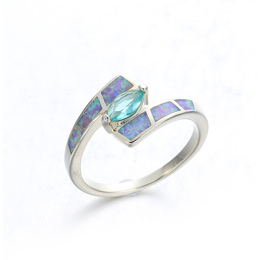 Opal 925 Sterling Silver Wedding Rings Jewelry for Women Engagement Ring 103561