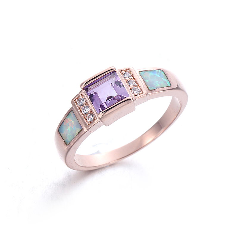 Round CZ Cubic Zircon White Opal 925 Sterling Silver Rings for Women Fashion Jewelry 103562