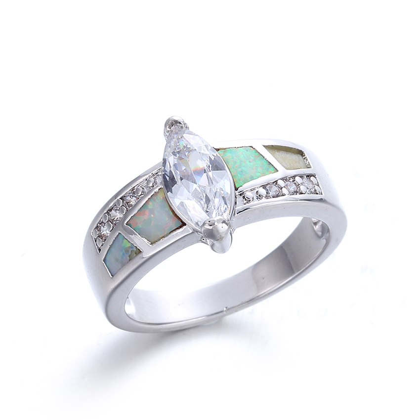 Luxury Women 925 Sterling Silver Opal Ring Wedding Engagement Jewelry Gifts 103564