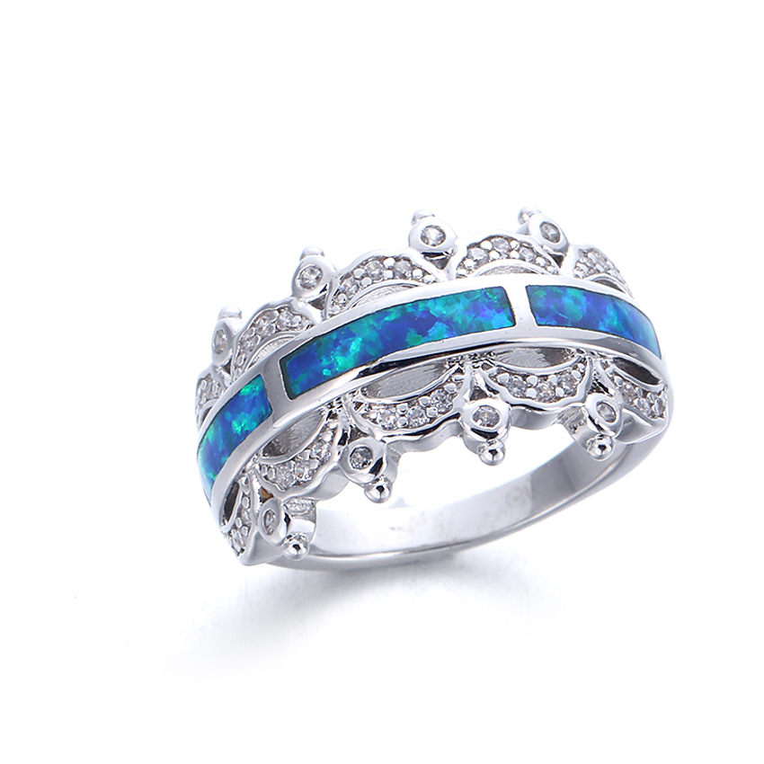 3*12 mm Blue Opal 925 Sterling Silver Ring For Women Party Engagement 103569