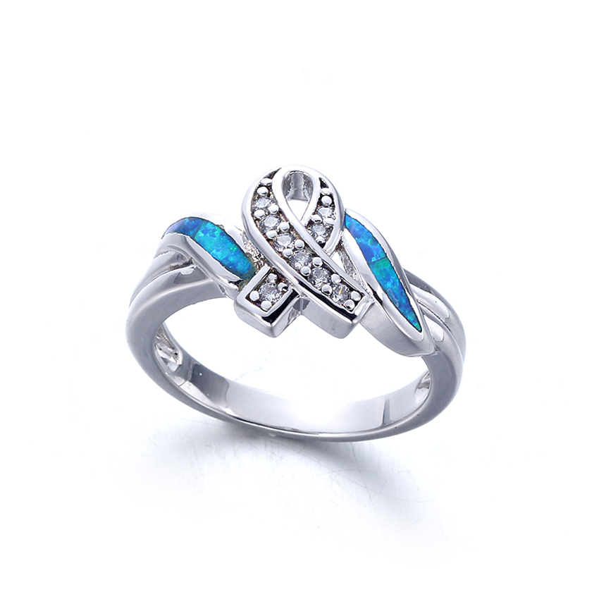 Blue Opal Rings Women Fashion 925 Sterling Silver Jewelry Vintage Wedding Engagement Rings 103570