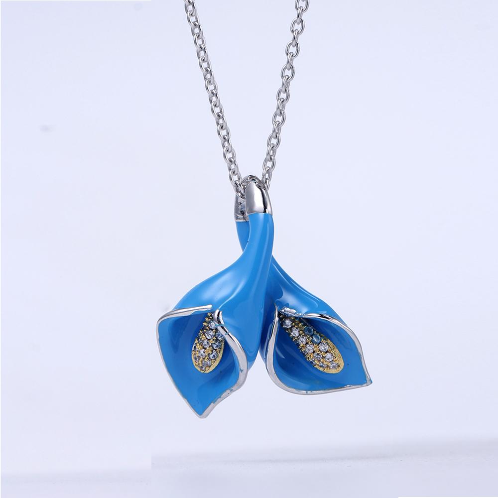 Women Fashion Enamel Pendant Earrings Ring 925 Sterling Sliver Jewelry Set 84424