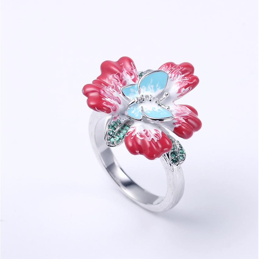 925 Sterling Silver Enamel Flower Earring Pendant Ring Jewelry Set For Women 84426