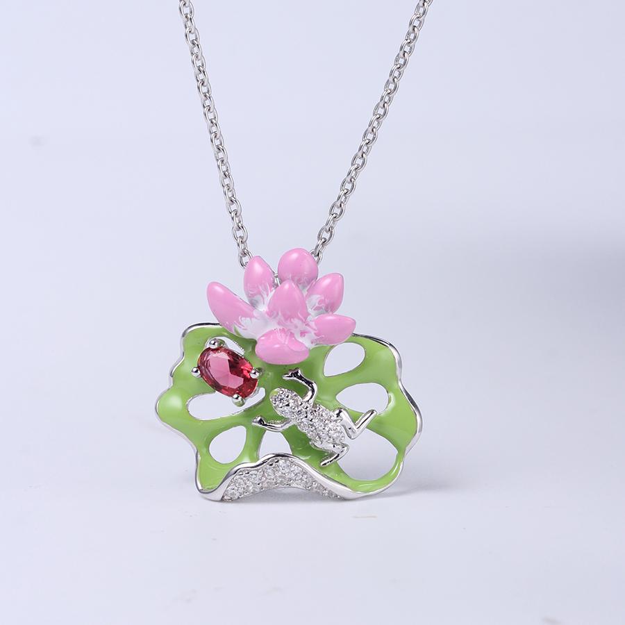 Women Fashion 925 Sterling Silver Enamel Jewelry Wedding Pendant Earring Ring Set 84429