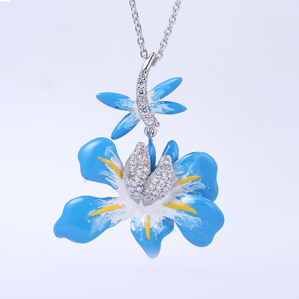 Enamel Jewelry Set Mixcolor Color 925 Sterling Silver Bridal Jewelry Sets for Women 84452