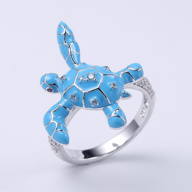 Women Cute Tortoise Jewelry Set Wedding Party Ring/Earrings/Pendant 84456