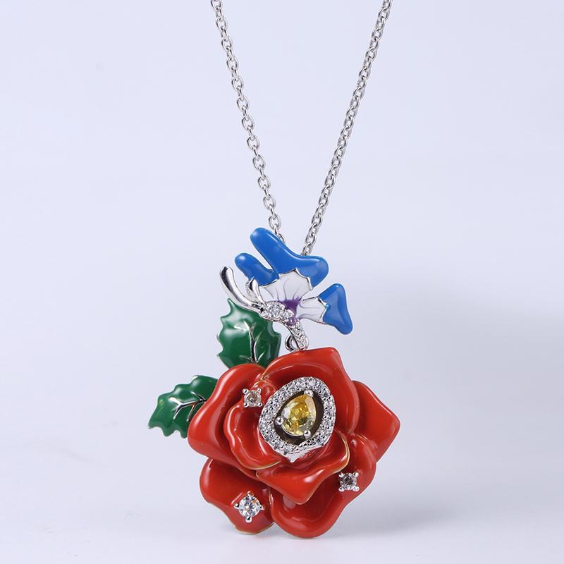 925 Sterling Silver Flower Enamel Jewelry set Cute Earring/Ring/Pendant 84458