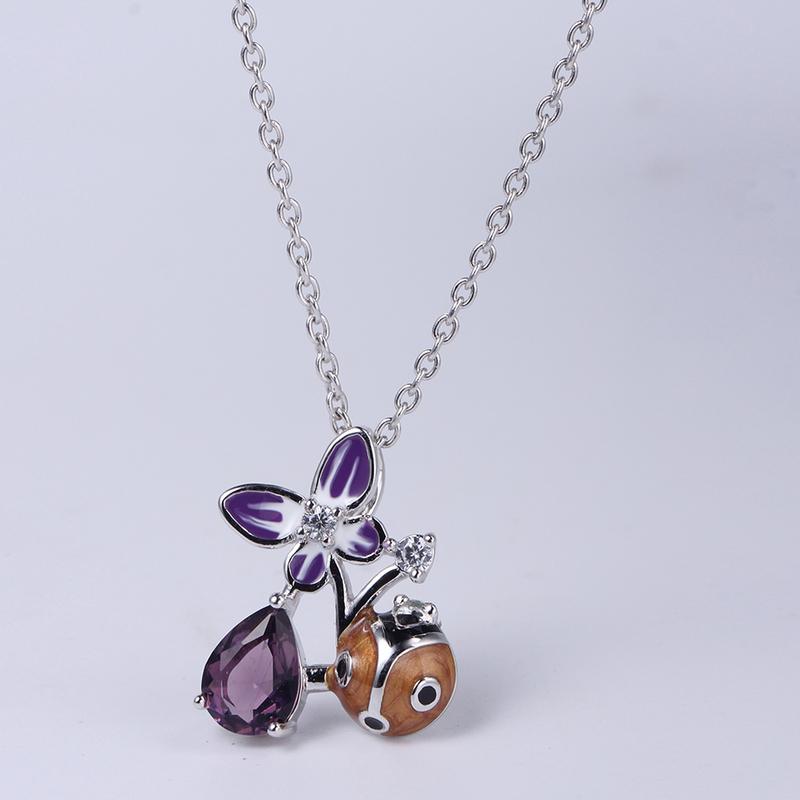 Women 925 Sterling Silver Enamel Flower Finger Ring /Earring/Pendant Jewelry set 84496