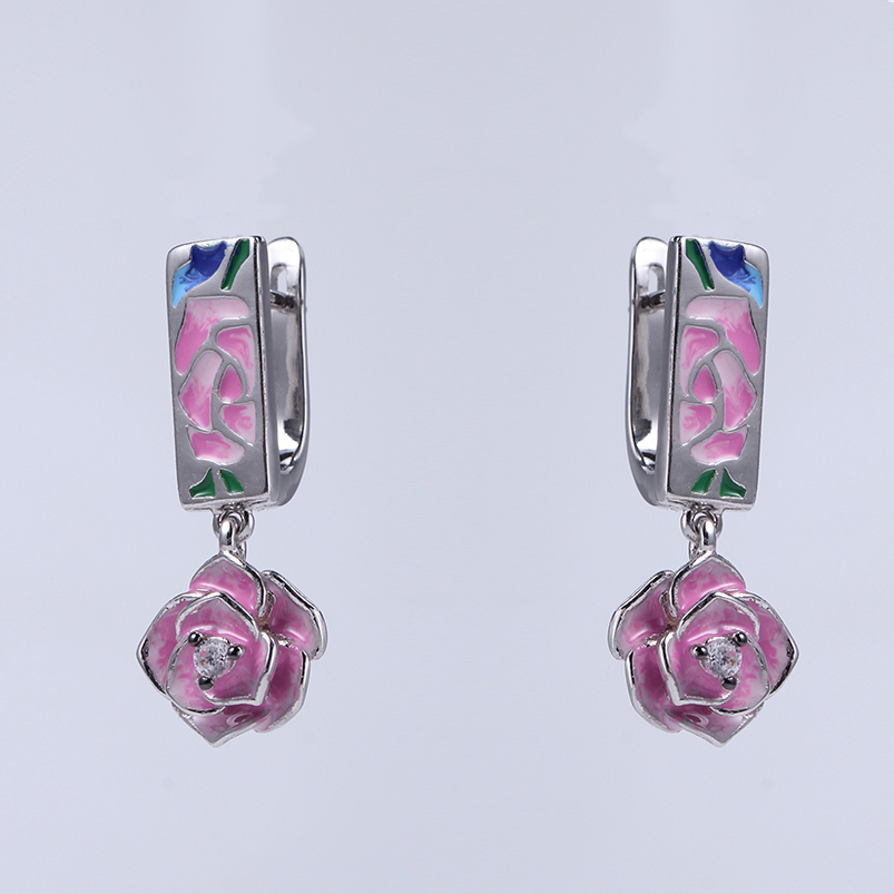 Charm Cubic Zircon Flower Enamel 925 Silver Earrings & Pendants Jewelry set for Women 84501