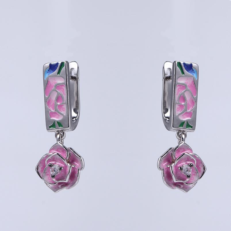 Charm Cubic Zircon Flower Enamel 925 Silver Earrings & Pendants Jewelry set for Women 84501