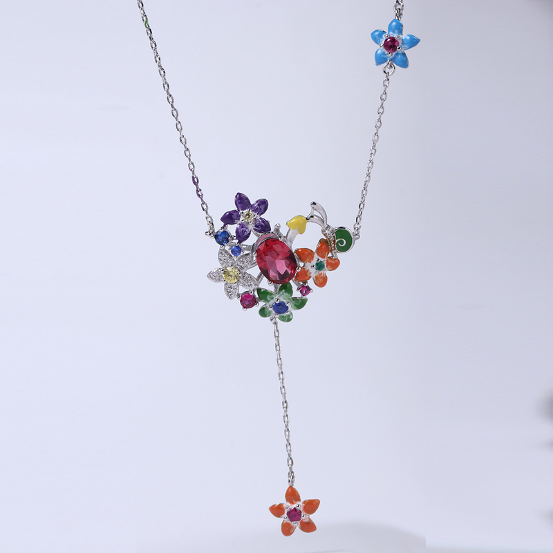 Flower Shape Colorful 925 Sterling Silver Earrings /Ring/Pendant Jewelry set Cubic Zirconia For Women Party 84548