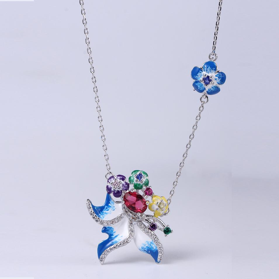 Women Fashion Flower Enamel 925 Sterling Silver Jewelry set Earring/Ring/Pendant 84549