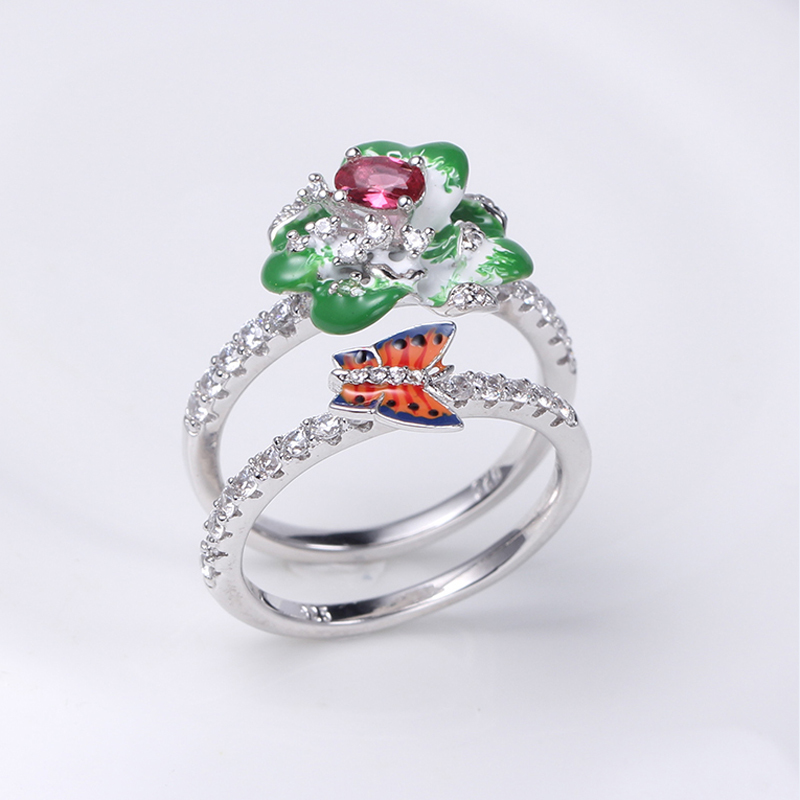 Wholesale Women Flower Shape 925 Silver Enamel Ring/Earring/Pendant Jewelry set 84552