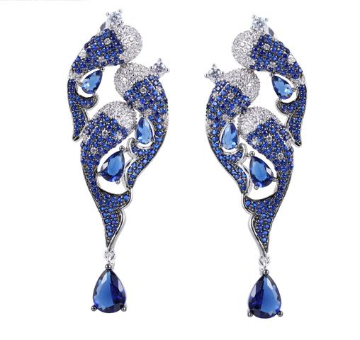 Fashion 925 Sterling Silver Earrings Blue Crystal & Cubic Zirconia Jewelry For Women 38317