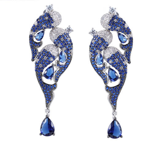 Fashion 925 Sterling Silver Earrings Blue Crystal & Cubic Zirconia Jewelry For Women 38317