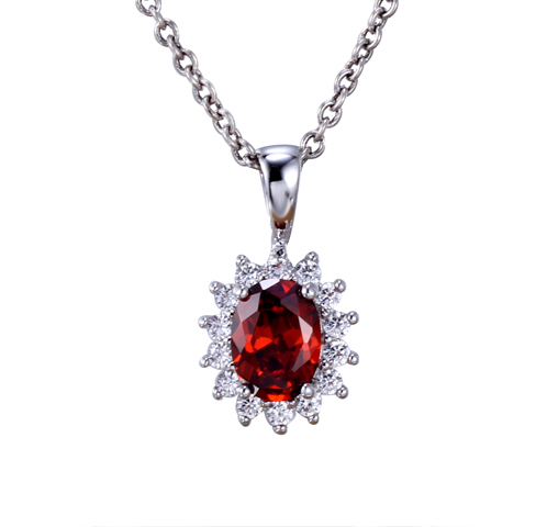 Luxury Women 925 Sterling Silver Cubic Zirconia Pendant Chain Necklace Jewelry 27308