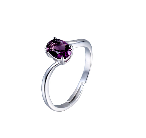 Luxury 925 Sterling Silver Purple Crystal Rings  Engagement Promise Wedding Band Jewelry 102287