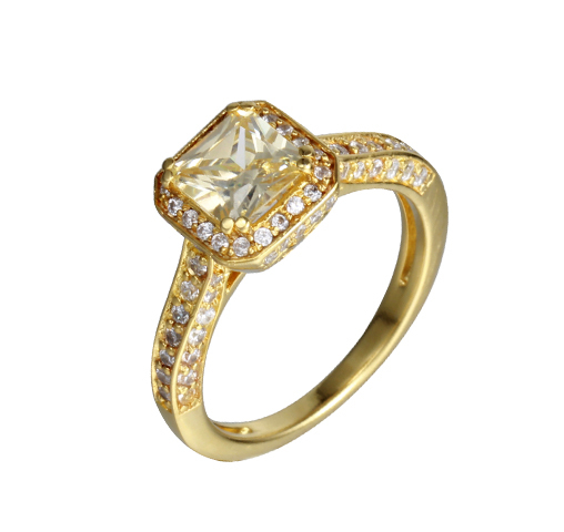 Women Fashion 925 Sterling Silver Cubic Zircon 14k Gold Ring Jewelry 104480