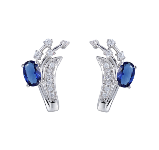 Handmade 925 Sterling Silver Oval Cut Crystal Earrings Jewelry for Wedding Engagement 84757
