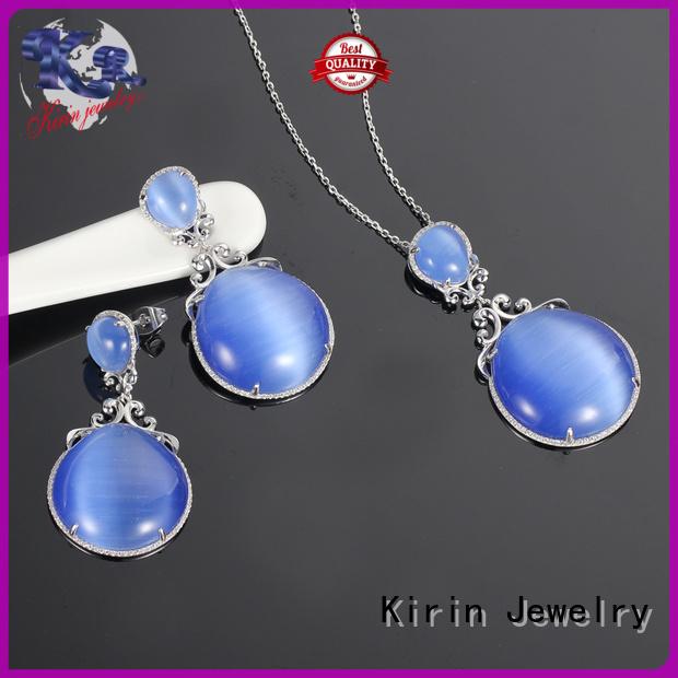 925 sterling silver wedding sets gem necklace Warranty Kirin Jewelry