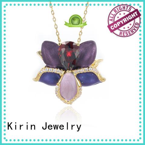 woman round blooms 925 sterling silver pendants elegant Kirin Jewelry