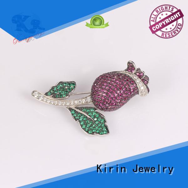 Kirin Jewelry Brand clear stone women gold 925 sterling silver brooch